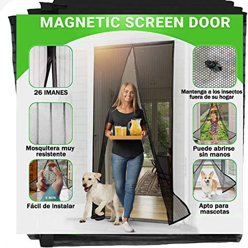 Zanzariera Magnetica per Porte 100 x 240CM, 2021 Materiale Fine Aggiornato Anti-insetti Magnetica Zanzariera, Chiusura Automatica,Facile Installazione, Traspirante e Fresco Nero