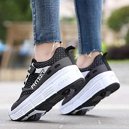 Zapatos con Ruedas para Niños para Niños Niñas Zapatillas Deportivas Multifuncionales 2 En 1 con Rueda Retráctil Zapatillas para Skateboard para Correr Al Aire Libre B,35EU