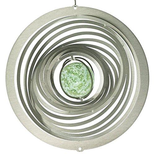 CIM Edelstahl Deko Windspiel - Strudel - lichtreflektierend - inkl. Aufhängung und fluoreszierender Glaskugel (Strudel Glow 200)