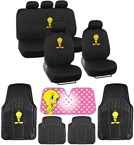BDK Tweety Seat Cover, Rubber Floor Mat and Sun Shade - Warner Brothers 14 Piece Full Interior Protection Auto Accessories