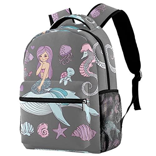Cute Primary School Bag Kindergarten Kids Backpack Whale Mermaid Hippocampus Casual Daypack Preschool Bags for Boys Girls Teens 11.5x8x16in