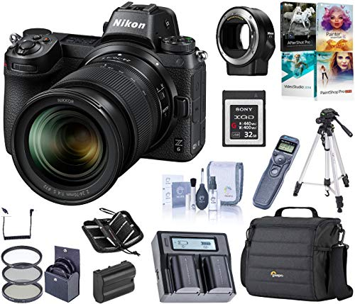 Nikon Z6 FX-Format Mirrorless Camera w/NIKKOR Z 24-70mm f/4 S Lens Bundle with Mount Adapter FTZ, Bag, Intervalometer, 32GB XQD Card, Dual Charger, Battery, Filter Kit, Tripod, PC Software + More