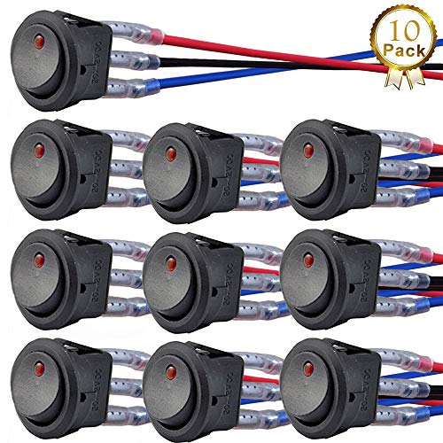 donjon Interruttore a levetta, 12V 20A / 24V 10A Toggle Switch LED(con 16AWG Fili) SPST On off per Auto RV Camion Jeep off Road Boat Marine (10 PCS)