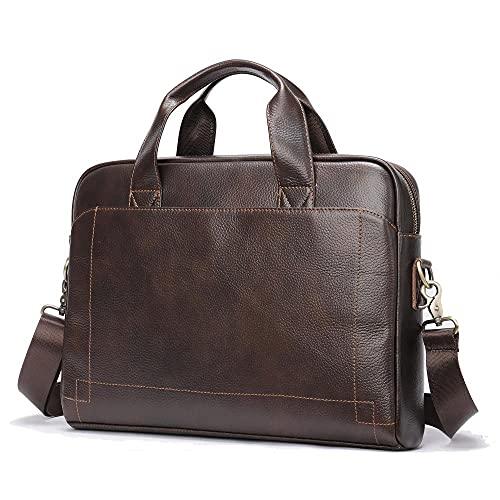 Borsa da uomo in pelle, cartella in pelle primo strato, borsa per laptop 14 pollici orizzontale, borsa a tracolla-Caffè scuro