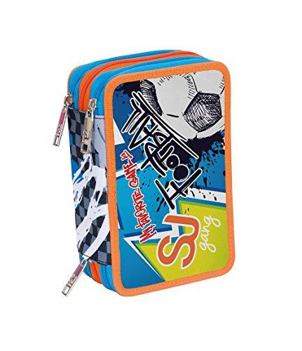 SEVEN S.P.A. ASTUCCIO Scuola - SJ BOY - Bambino - 3 scomparti - Azzurro Arancio - pennarelli matite gomma ecc.