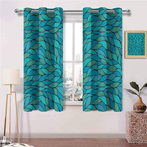 Painting-home Cortina opaca con ojales abstractos diseño de ondas océano con estampado de patrón de vida marina para dormitorio y puerta corredera de cristal, juego de 2 paneles (42 x 72 pulgadas)