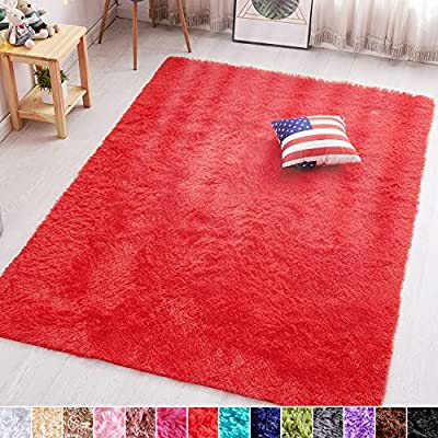 PAGISOFE Red Fluffy Shag Area Rugs for Bedroom 5x7, Soft Fuzzy Shaggy Rugs for Living Room Carpet Nursery Floor Boys Room Dorm Rug
