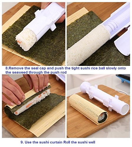 7TECH Sushi Roller Kit All in One Sushi Maker Kit Perfect Kitchen Appliance - Includes Sushi Maker Instructions & Sushi Mat
