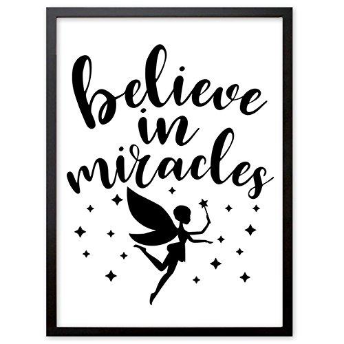 """Booga Baby Poster Kinderzimmer mit Spruch """"Believe in Miracles"""", DINA4 Babyzimmer Deko"""