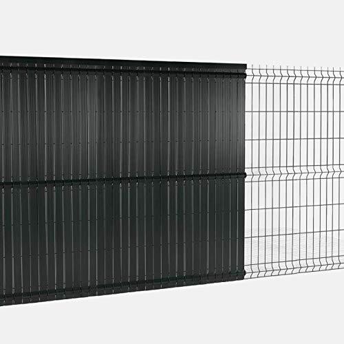 IDMarket - Kit occultant Gris L. 250 x H. 153 cm lamelles PVC rigides qualité Pro