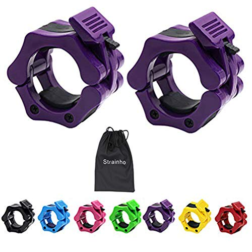 Strainho Olympic Weight Bar Clips - 2 inch Barbell Collars - Quick Release Olympic Barbell Clamp for Weightlifting, Olympic Lifts and Strength...