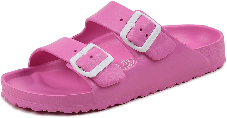 UB-DEVO Womens Slides Double Buckle Adjustable Open Toe Lightweight Sandal
