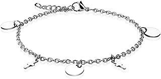 Cavigliera/bracciale a catena in acciaio inossidabile 316L con ciondoli rotondi e incrociati