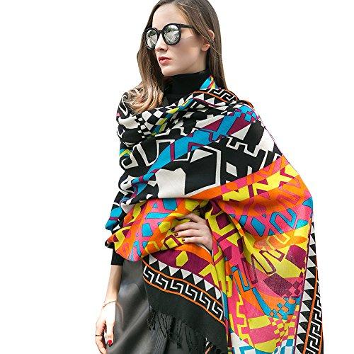 DANA XU 100% Pure Wool Women's Large Traditional Cultural Wear Pashmina Scarf (Black) (Colorful25)