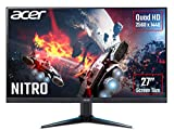 Acer Nitro VG270Ubmiipx Monitor Gaming FreeSync, 27', Display IPS 2K QHD, 75 Hz, 1 ms, HDMI 2.0, DP 1.2a, Lum 350 cd/m2, Speaker Integrati, Cavo DP Incluso, Nero
