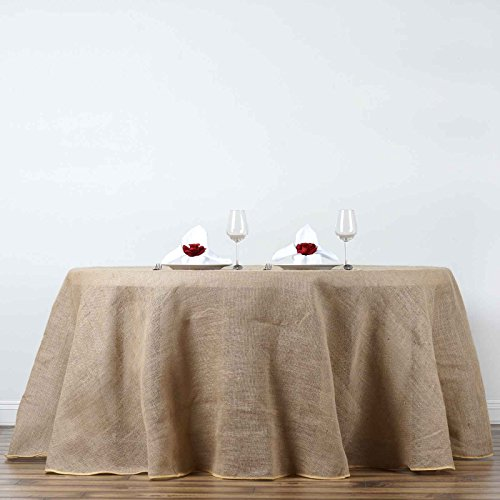BalsaCircle 120-Inch Natural Brown Burlap Jute Rustic Round Tablecloth Country Chic Wedding Party Dining Room Home Table Linens