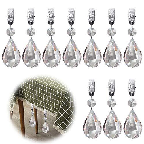 Glarks Tischdeckengewichte Set mit 10 Metallklammern, AB-Kristallglas, Tropfenform, Prismen-Anhänger, Tischdecke, Gewichte für Picknick, Tischdecke, Gewichte Laute
