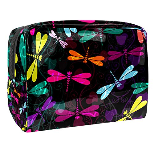 Bolsa de maquillaje grande con diseño de libélula, bolsa de cosméticos portátil de viaje, caja de belleza de viaje, bolsas de aseo
