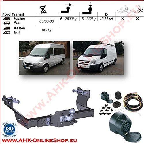 AHK Anhängerkupplung mit Elektrosatz 13 polig für Ford Transit 2000-2000 Anhängevorrichtung Hängevorrichtung - starr, mit angeschraubtem Kugelkopf