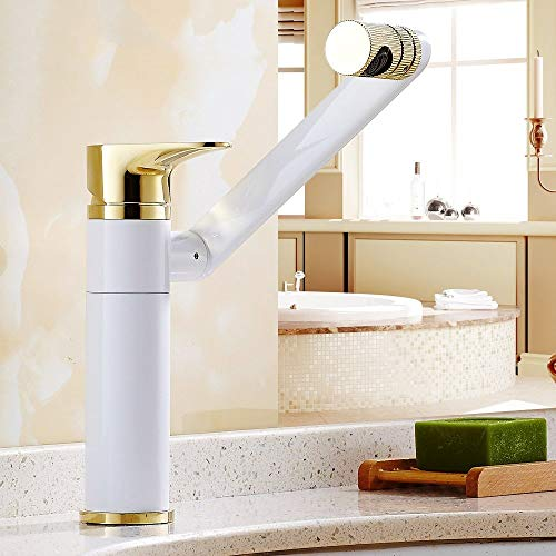XHNXHN El grifo de agua caliente y fría se puede girar el lavabo hacia arriba y hacia abajo, además del grifo alto blanco más oro (estilo: A)