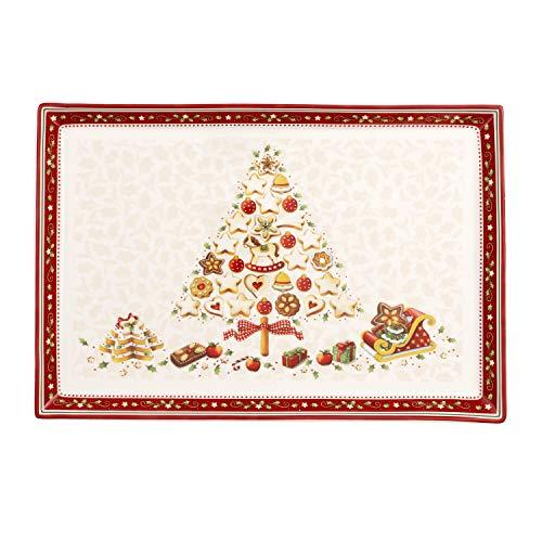 Villeroy & Boch Winter Bakery Delight Grand plat de service rectangle pour pâtisseries, Porcelaine Premium, Blanc/Rouge/Beige