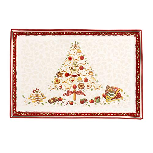 Villeroy & Boch Winter Bakery Delight Grand plat de service rectangle pour pâtisseries, Porcelaine Premium, Blanc/Rouge/Beige