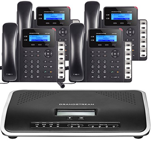 Business Phone System by Grandstream: Starter Package Including Auto Attendant, Voicemail, Cell & Remote Phone Extensions, Call Recording & Free Telco Depot Phone Service for 1 Year (4 Phone Bundle)