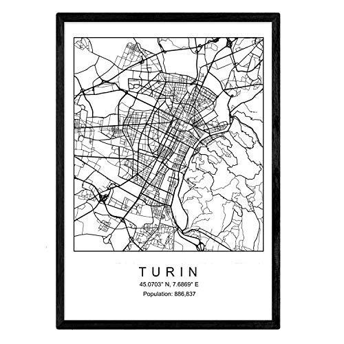 Nacnic Stampa Artistica Cartina geografica della Città di Torino, Italia. Mappa della Città dell'Arte, Stile Nordico in Bianco e Nero.