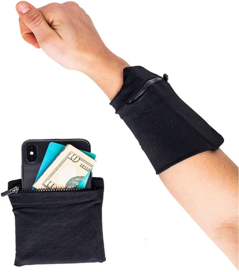 Wrist Wallet Cell Phone Armband Case Running Holder Storage Band Sweatband Wristband Compatible with iPhone Samsung Galaxy Models for SportsTravel Running Hiking