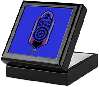 CafePress Captain America Avengers Endgame Keepsake Box, Finished Hardwood Jewelry Box, Velvet Lined Memento Box
