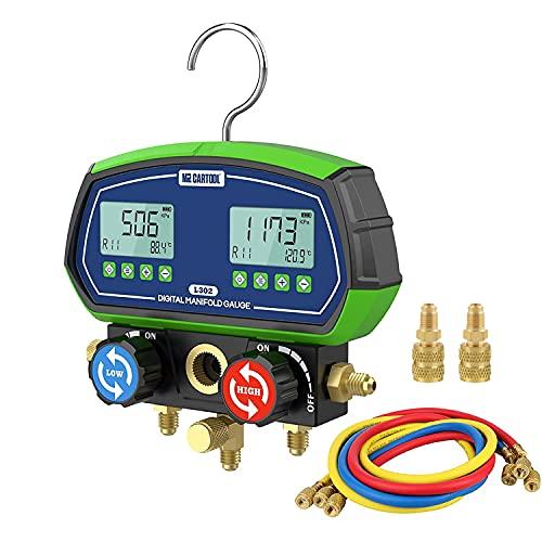MR CARTOOL L302 Digital Manifold Gauge Set 2-Valve Refrigerant HVAC Systems Leakage Pressure Tester Tool with 3 Hoses for Air Conditioning Refrigeration Recharging