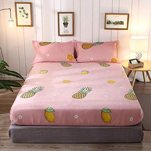 N / A Deep Fitted Bed Sheet King,Cotton printed fitted sheets, Single dust mattress cover, Children's bedroom non-slip sheet for double king size bed-J_150cm200cm