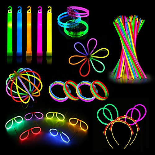 240 Glow Sticks Party Pack – Camping Glow Activities For Families – Neon Light Sticks Decoration For Party Favors Kids And Adults - Includes Connectors To Create Glow In The Dark Necklaces, Bracelets, Glasses, Headbands, Balls, Flowers And Much More