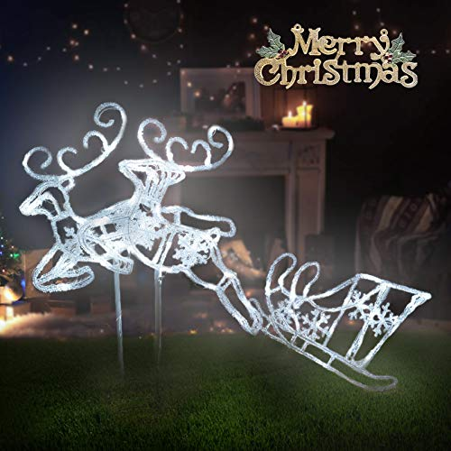 Pre-Lit LED Light Up Double Reindeer and Sleigh Set, Acrylic Christmas...