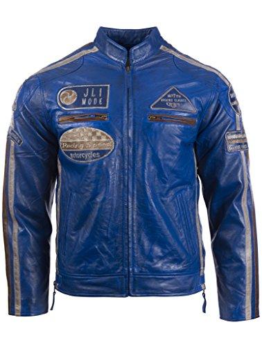 Herren echtes Leder Bikerjacke mit Bandkragen und Rennabzeichen von MDK, Blau, 4XL