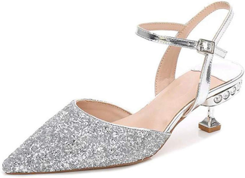 Frauenpumpen High Heels Schuhe Hochzeit Strass Schnalle Kleid Kleid Schuhe Frau Spitz  70% günstiger