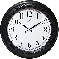 Infinity Instruments Wall Clock Traditional Oversized Wall Clock 24 inch Decorative Black Easy-to-Read 24 inch Wall Clock