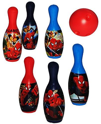 Unbekannt Set Bowling / Kegelspiel -  Ultimate Spider-Man  - incl. Name - Bunte Farben Kegeln Kegel - für Kinder / Erwachsene groß - Kind Kinderbowling - Garten Junge..
