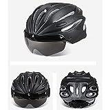 Mawwanta Casque de Cycle de Demi-Visage, Objectif de Casque de Cyclisme avec des Lunettes magnétiques de visière moulées de manière intégrée 58-62 cm pour Hommes Femmes Casque