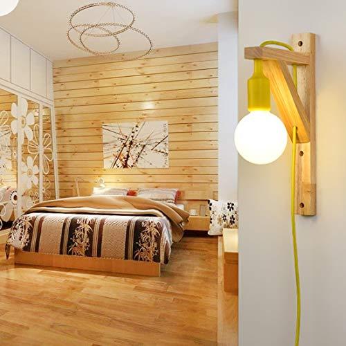 Spotlight Wall Eenvoudige houten trap Aisle Living Room Wandlamp zonder Lichtbron (rood) Wall Spotlight (Color : Yellow)