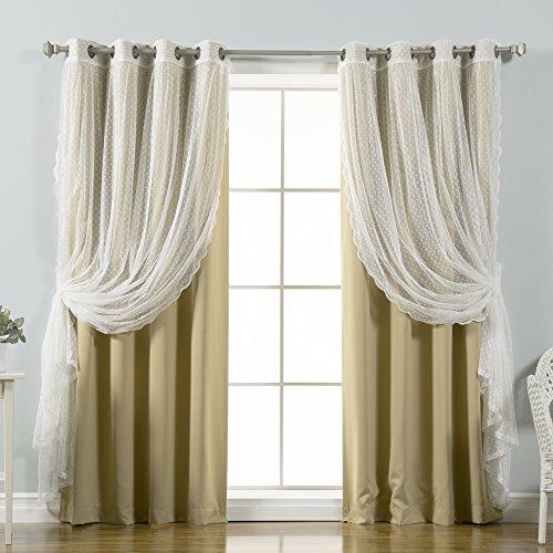 "Best Home Fashion Mix & Match Dotted Tulle Lace & Solid Blackout 4 Piece Curtain Set – Antique Bronze Grommet Top – Wheat – 52"" W x 84"" L – (Set of 4 Panels)"