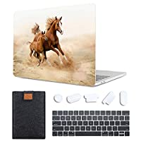 MAITTAO 4 in 1 Bundle Macbook Air 13 Inch Case 2020 Release A2179 With Retina, Plastic Pattern Hard Shell & Laptop Sleeve Bag & Keyboard Cover For MacBook Air 13 with Touch ID, Akhal-Teke Horse 10