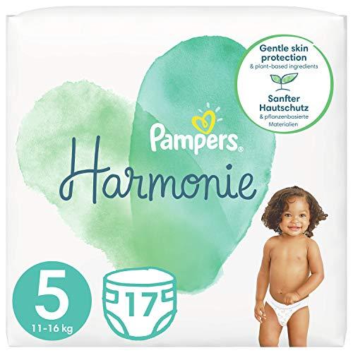Pampers Baby Windeln Größe 5 (11+kg) Harmonie, 17 Stück, Tragepack, Sanfter Hautschutz Und Pflanzenbasierte Inhaltsstoffe