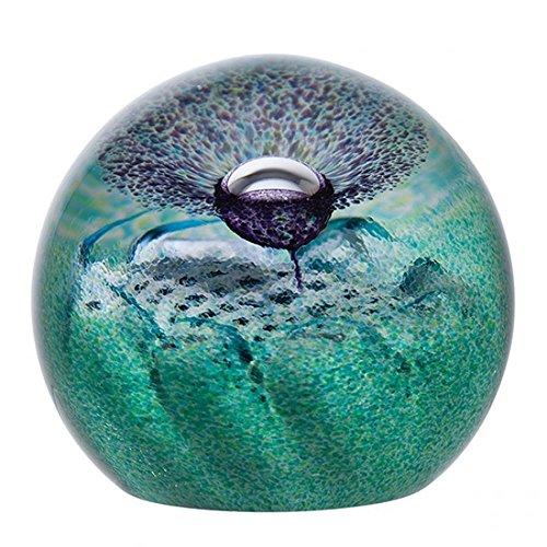 Caithness Glass U2994 Crystal Flower of Scotland Scottish Paperweight, Green/ Purple