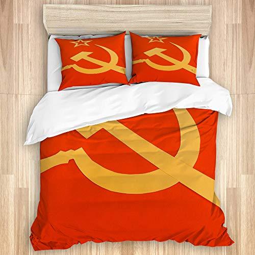 SUHETI Bettwäsche Set,Kommunistische CCCP Flagge mit Hammer und Sichel, Symbole des Kommunismus,1 Bettbezug 240x260cm+2 Kopfkissenbezug 50x80cm