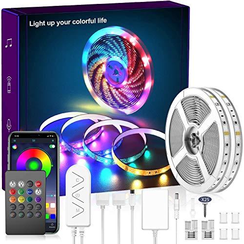 82.4Ft/25m LED Strip Lights, 750 LEDs Music Sync Color Changing LED Light Built-in Mic, Bluetooth APP Controlled DIY Color Options Rope Lights, 750LEDs 5050 RGB LED Light Strip(APP+Remote+Mic+Music)