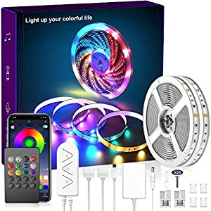 80ft LED Strip Lights, Music Sync Color Changing LED Light Built-in Mic, Bluetooth APP Controlled DIY Color Options Rope Lights, 5050 RGB LED Light Strip(APP+Remote+Mic+Music)