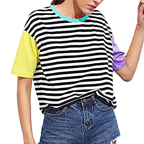 Camiseta de Manga Corta para Mujer Camiseta de Mujer Tops de Verano Camiseta Casual Jersey a Rayas para Mujer Camiseta de Manga Corta Tops de Verano Casuales Camisetas con Cuello Redondo Blusas