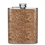 Kleine Lava-Lampe aus beigem und braunem Edelstahl. Auslaufsicherer Whisky Wine Flagon-Becher, der einen 8 oz Flachmann trinkt