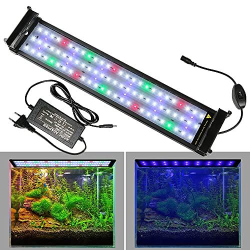 Lueigmo Luce LED Acquario, LED Acquario con Luce a Spettro Completo Regolabili per Piante Acquatiche, 75-95cm, 22W